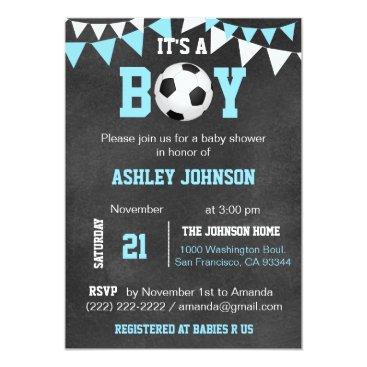 Soccer It's a Boy Baby Shower Chalkboard Blue Boy Invitation