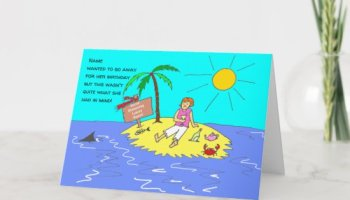 Social Distancing Female Funny Cartoon Birthday Card