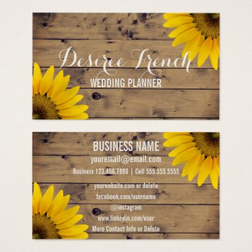 Social Media | Rustic Sunflowers Wedding Planner Business Card