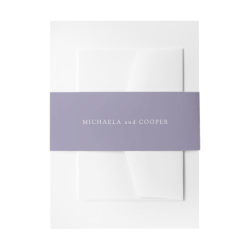 Solid Light Violet Purple Personalized Wedding Invitation Belly Band