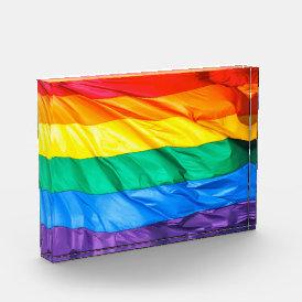 Solid Pride - Gay Pride Flag Closeup Acrylic Award