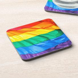 Solid Pride - Gay Pride Flag Closeup Beverage Coaster