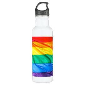 Solid Pride - Gay Pride Flag Closeup Water Bottle