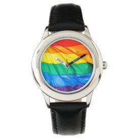 Solid Pride - Gay Pride Flag Closeup Wrist Watch