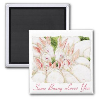 Some Bunny Loves You - White Rabbits Magnet zazzle_magnet