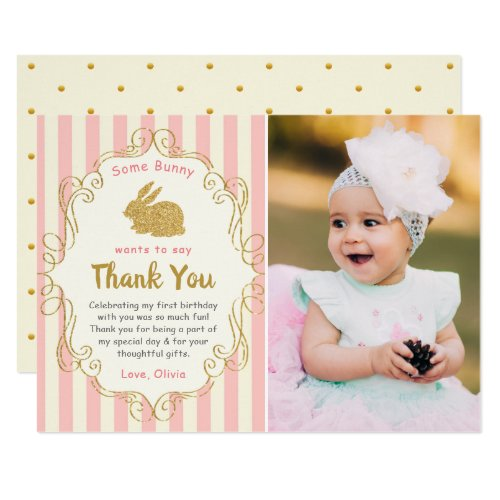 Some Bunny Pink & Gold Birthday Photo Thank You Invitation