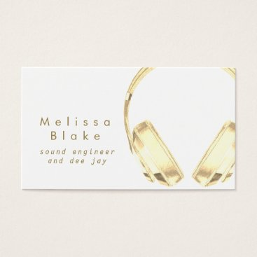 sound engineer dee jay faux gold business card