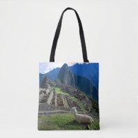 South America, Peru. A llama rests on a hill Tote Bag