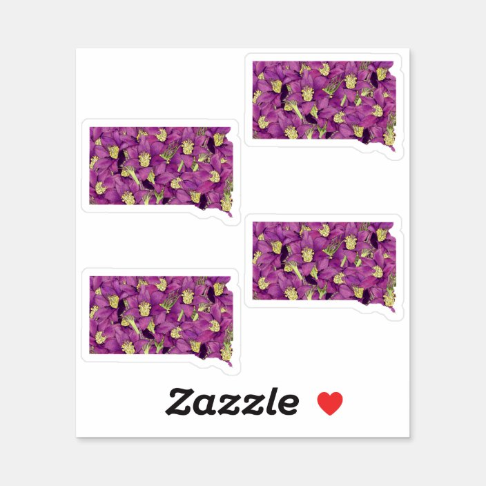 South Dakota Flower Sticker Zazzle Com
