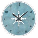 Southwest Turquoise Winter Snowflake Geometric Large Clock