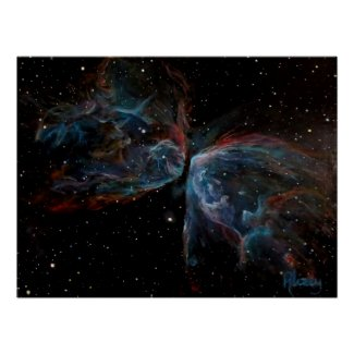 Space Art Poster: Butterfly Nebula Painting print