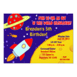 ❤️ Cool Blue, Red & Yellow Space Rocket Ship Birthday Party Invitation