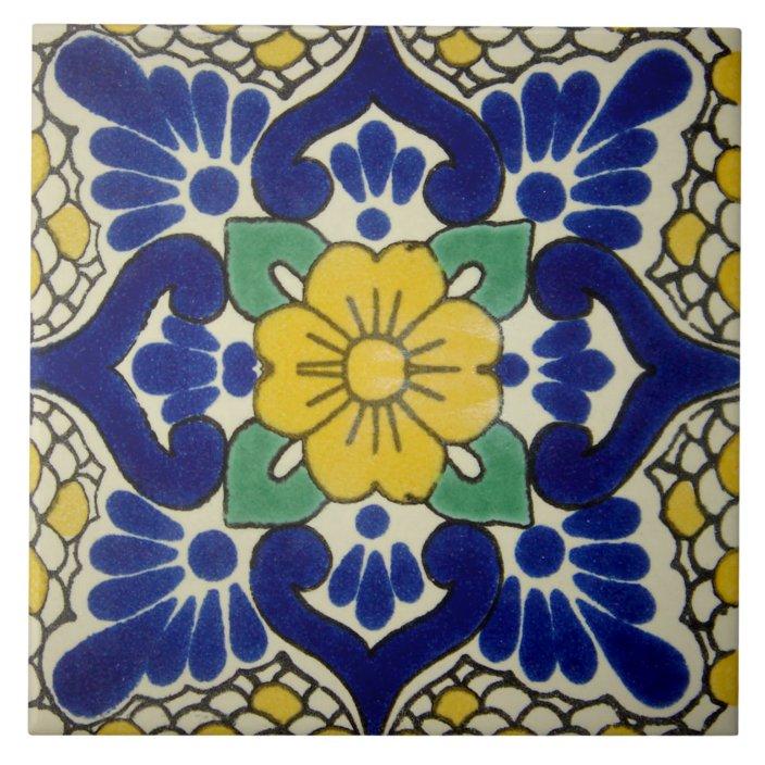 spanish blue yellow flower ceramic photo tile zazzle com