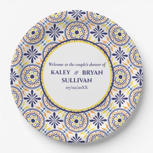 Spanish Navy Yellow Tile mediterranean wedding V1 Paper Plate