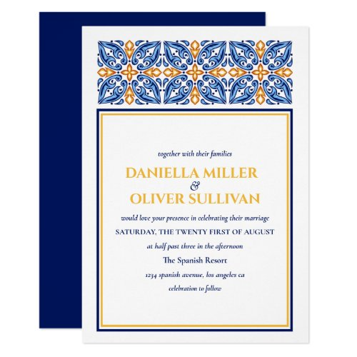 Spanish Tile | Blue Yellow  Mediterranean wedding Invitation