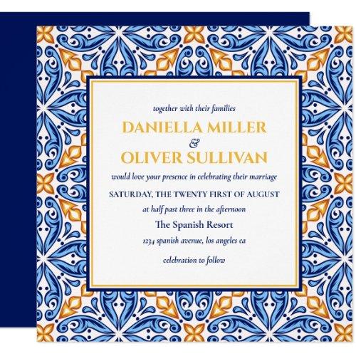 Spanish Tile | Yellow Blue Mediterranean wedding Invitation