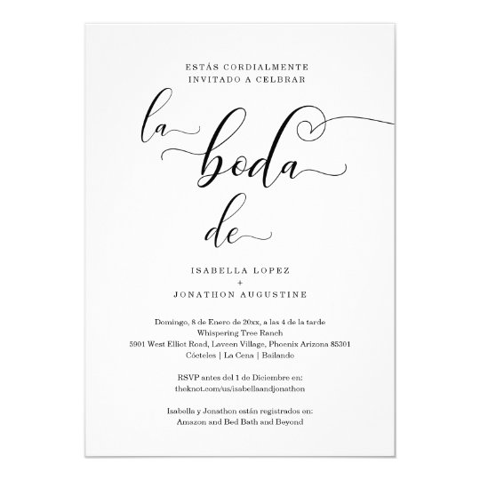 Spanish Wedding Invite All In One W Rsvp Registry