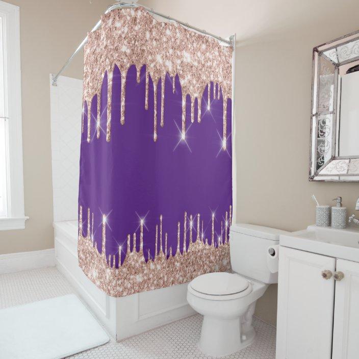 spark drips glitter effect black rose gold purple shower curtain zazzle com