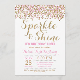 pink and gold birthday invitations zazzle