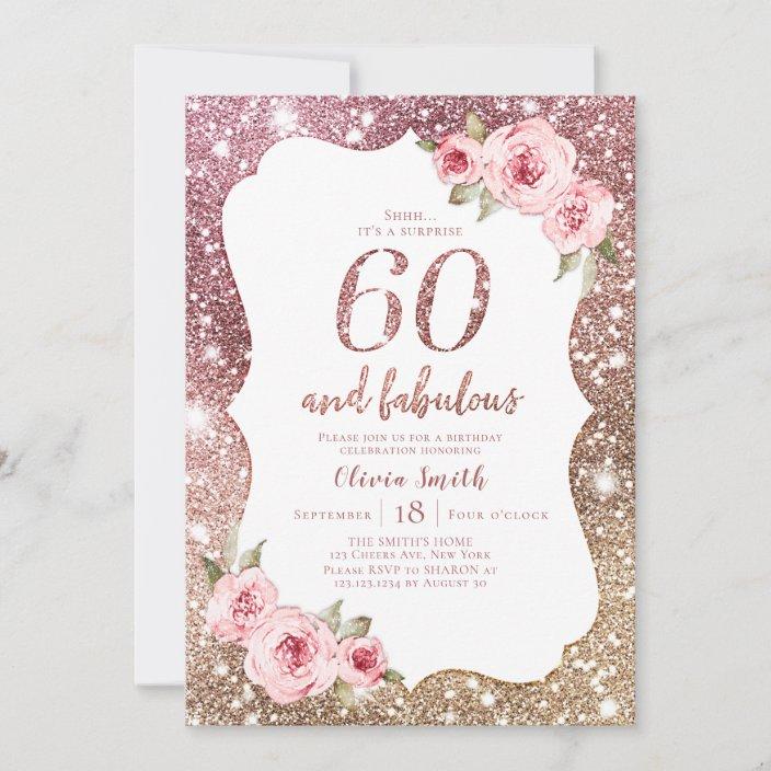 sparkle rose gold glitter and floral 60th birthday invitation zazzle com