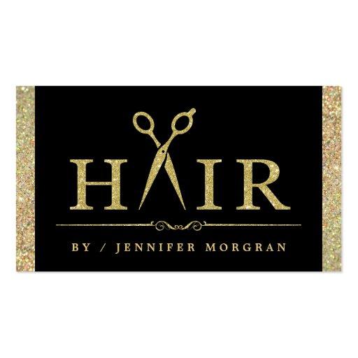 Sparkling Gold Glitter Hair Salon Appointment Card Zazzle