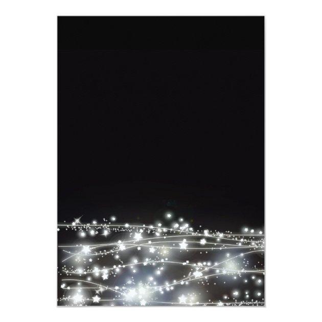 Sparkling Stars Black And White Party Invitation Zazzle