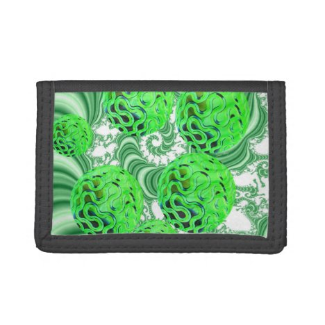 Spearmint Swirl, Abstract Green Lime Pattern Trifold Wallet