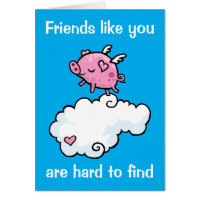 Special friend flying pig card