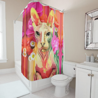 Sphynx Cat in flowers Shower Curtain