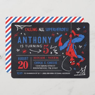 Spider-Man Chalkboard Birthday Invitation