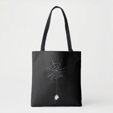 Spider-Man Hanging From Web Silhouette Tote Bag