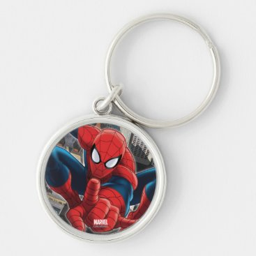 Spider-Man High Above the City Keychain