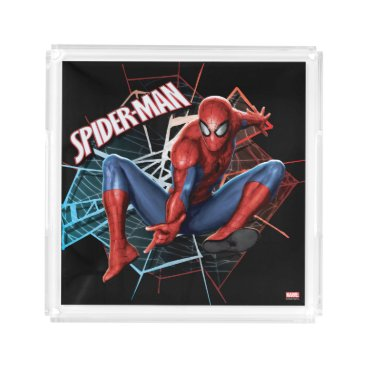 Spider-Man in Fractured Web Graphic Acrylic Tray