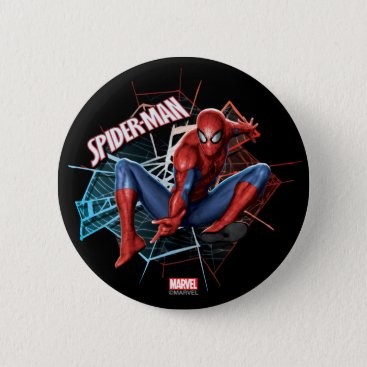Spider-Man in Fractured Web Graphic Pinback Button