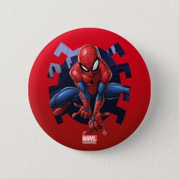 Spider-Man Leaping Out Of Spider Graphic Button