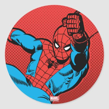 Spider-Man Retro Swinging Kick Classic Round Sticker