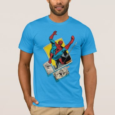 Spider-Man Swinging Out Of Comic Panels T-Shirt