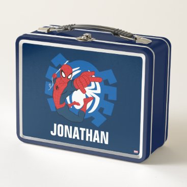 Spider-Man Swinging Over Blue Logo Metal Lunch Box