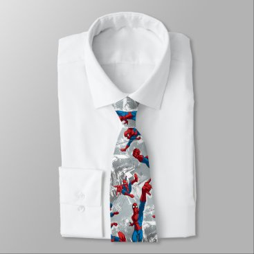 Spider-Man Swinging Over City Pattern Neck Tie