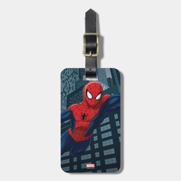 Spider-Man Swinging Through Downtown Luggage Tag