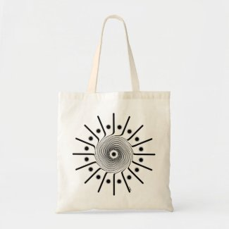 Spiral Rays Graphic Art Design on Tote Bag