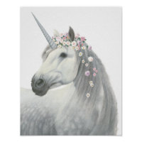 Spirit Unicorn with Flowers in Mane Poster