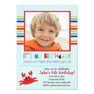 Splashing Crab Summer Birthday Party Invitation