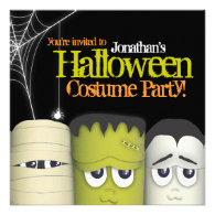 Spooky Monster & Friends Halloween Costume Party Personalized Announcements