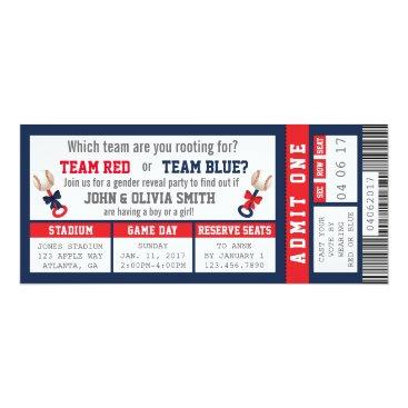 Sports Ticket Gender Reveal Invitation, Baseball Card