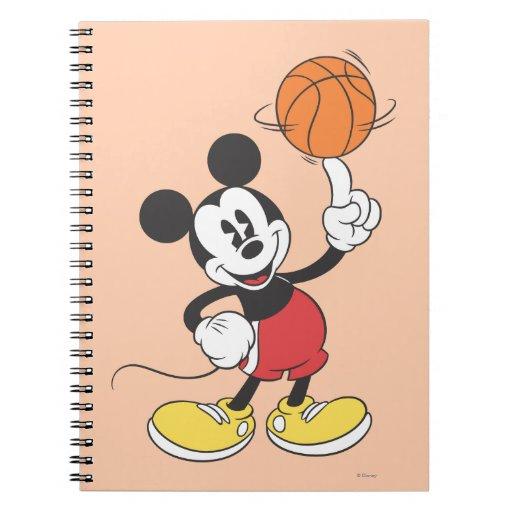 Sporty Mickey | Spinning Basketball Spiral Notebook | Zazzle