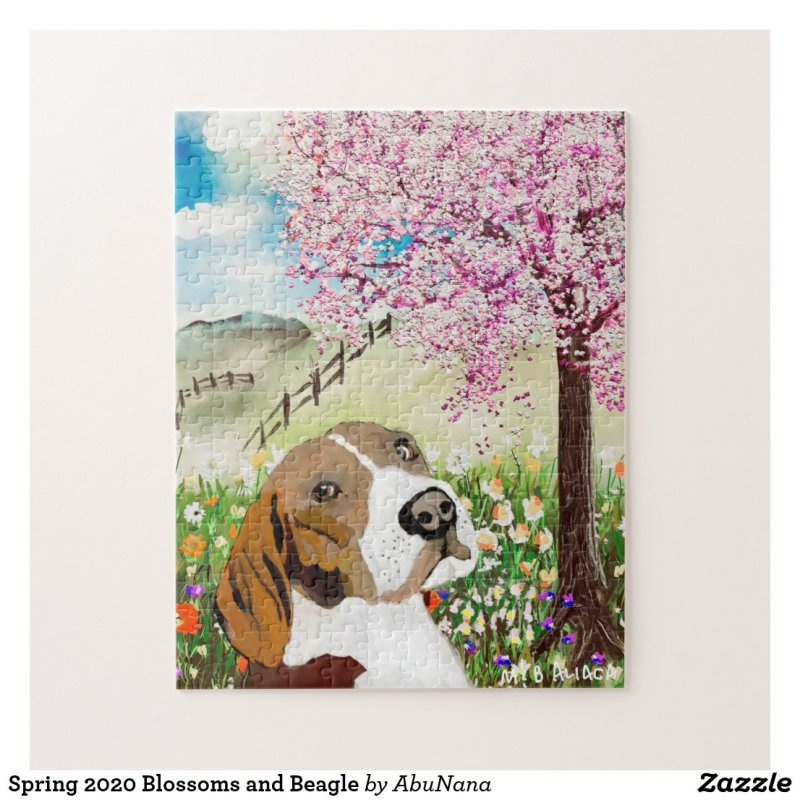 Spring 2020 Blossoms and Beagle Jigsaw Puzzle