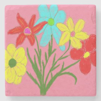 Spring bouquet stone coaster