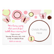 Spring Butterfly Dots Photo Birthday Invitations