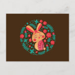 Festive Spring Floral Peach Rabbit Easter Wishes  Postcard
